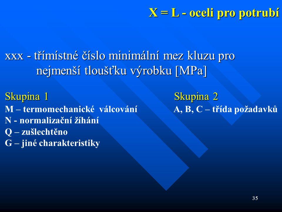 X = L - oceli pro potrubí xxx - třímístné číslo minimální mez kluzu pro nejmenší tloušťku výrobku [MPa]